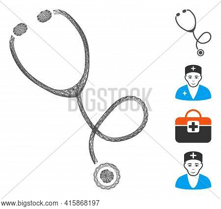 Vector Wire Frame Stethoscope. Geometric Wire Carcass 2d Net Generated With Stethoscope Icon, Design