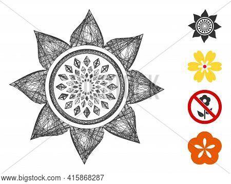 Vector Net Sunflower Flower. Geometric Hatched Frame Flat Net Made From Sunflower Flower Icon, Desig