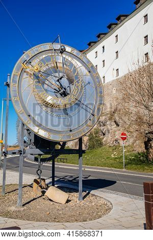 Kadan Astronomical Clock Near Medieval Castle, Tribute To Mikulas From Kadan Imperial Clockmaker, Th