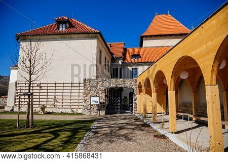Medieval Gothic Castle Kadan At Royal City, Town Fortification, Fortress Wall On Sunny Day, Park Wit
