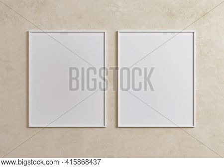 Double 8x10 Vertical White Frame Mockup On Beige Wall. Two Empty Poster Frame Mockup On Beige Backgr