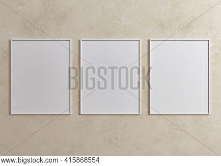 Triple 8x10 Vertical White Frame Mockup On Beige Wall. Three Empty Poster Frame Mockup On Beige Back