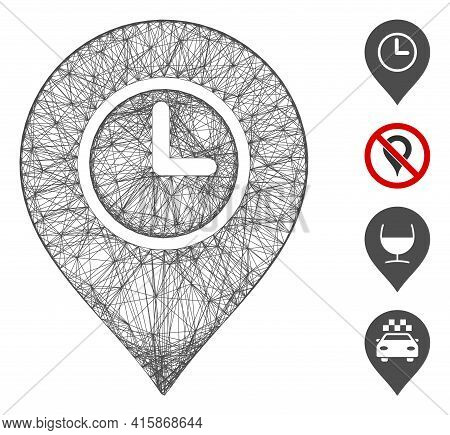 Vector Wire Frame Time Marker. Geometric Wire Carcass 2d Network Generated With Time Marker Icon, De