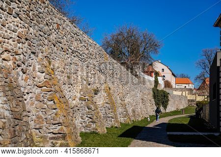 Medieval Gothic Town Fortification, Fortress Wall On Sunny Day At The Top Of The Hill, Old Stronghol