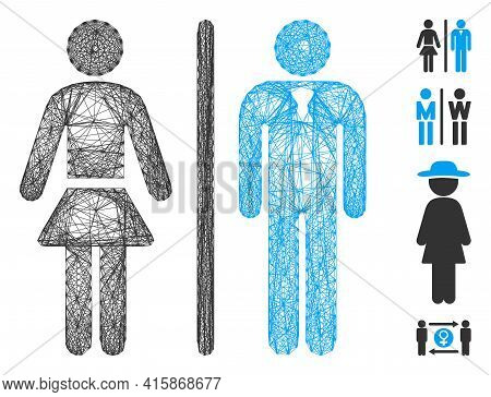 Vector Net Toilet Persons. Geometric Wire Carcass Flat Net Generated With Toilet Persons Icon, Desig