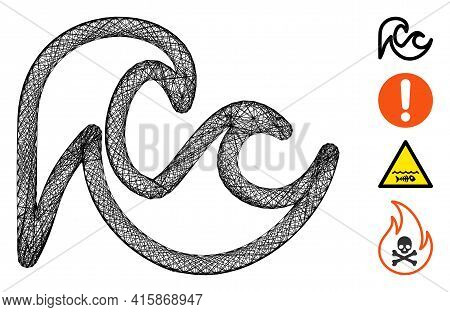 Vector Wire Frame Tsunami. Geometric Wire Frame Flat Network Made From Tsunami Icon, Designed From C
