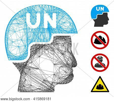 Vector Wire Frame United Nations Soldier Helmet. Geometric Hatched Frame 2d Net Generated With Unite