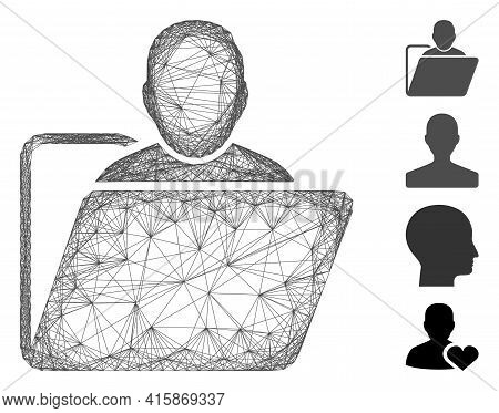 Vector Net User Folder. Geometric Wire Carcass 2d Net Generated With User Folder Icon, Designed With