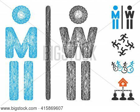 Vector Net Wc Persons. Geometric Linear Carcass 2d Net Made From Wc Persons Icon, Designed From Inte