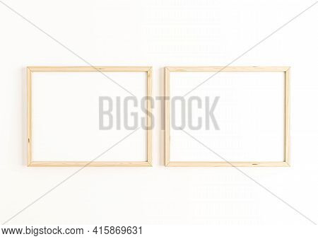 Double 8x10 Horizontal Wooden Frame Mockup On White Wall. Two Empty Poster Frame Mockup On White Bac
