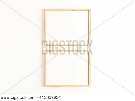 Double 8x10 Horizontal Wooden Frame Mockup On White Wall. Two Empty Poster Frame Mockup On White Bac
