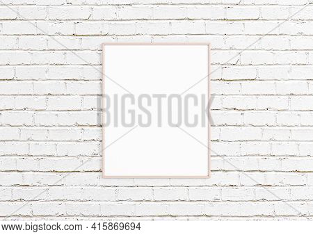 Single 8x10 Vertical Pink Frame Mockup With Decorations On White Bricks Wall. One Empty Poster Frame
