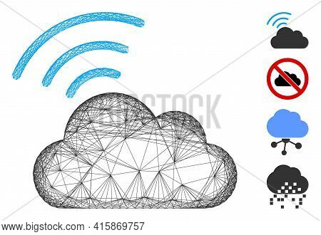 Vector Network Wi-fi Cloud. Geometric Wire Carcass Flat Network Generated With Wi-fi Cloud Icon, Des
