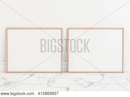 Double 8x10 Horizontal Rose Gold Frame Mockup On Marble Floor And White Wall. Two Empty Poster Frame