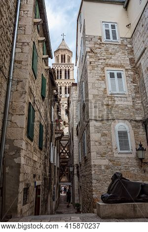 Split, Croatia - Jun 22, 2020: Diocletian Palace Ruins And Cathedral Bell Tower, Split In Dalmatia,