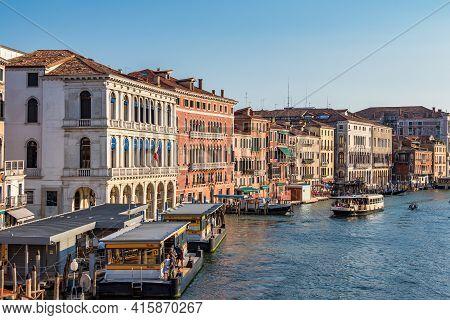 Venice, Italy - Jun 29, 2020: Venice Grand Canal With Gondolas, Italy In Summer, Europe