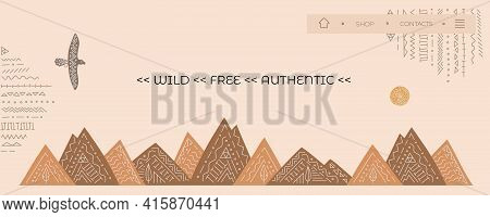 Banner, Home Page For Website With Vector Eagle, Mountains From Wild West. Ethnic Style, Boho Orname