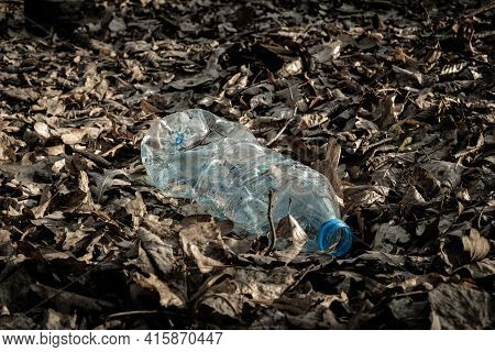 Environmental Protection. Garbage Trash In Environment. Plastic Waste Rubbish In Forest, Woodland. E