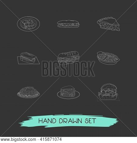 Set Of Cuisine Icons Line Style Symbols With North Carolina, Ohio, Tennessee And Other Icons For You