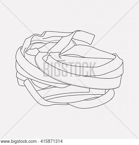 Pappardelle Pasta Shape Icon Line Element. Vector Illustration Of Pappardelle Pasta Shape Icon Line
