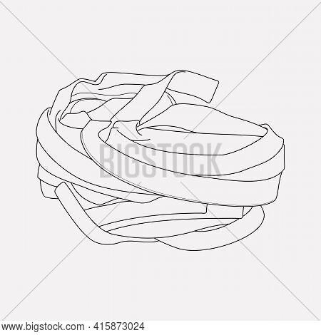 Pappardelle Pasta Shape Icon Line Element. Illustration Of Pappardelle Pasta Shape Icon Line Isolate