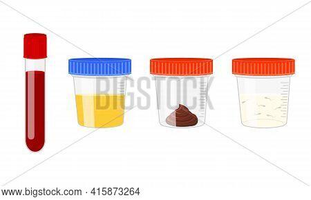 Medical Tests Of Blood, Urine, Stool, Sperm. Urinalysis, Blood, Poo And Semen Analysis Set. Laborato