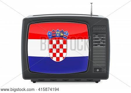 Croatian Television Concept. Tv Set With Flag Of Croatia. 3d Rendering Isolated On White Background