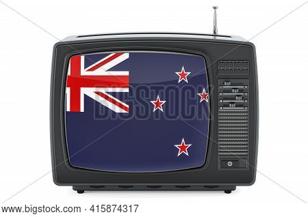 New Zealand Television Concept. Tv Set With Flag Of New Zealand. 3d Rendering Isolated On White Back