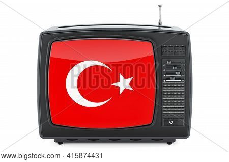 Turkish Television Concept. Tv Set With Flag Of Turkey. 3d Rendering Isolated On White Background