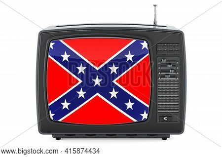 Tv Set With Confederate States Of America Flag, 3d Rendering Isolated On White Background