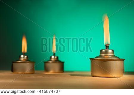 Pelita Or Oil Lamp, Traditional Malay Oil Lamp Lit Up During Ramadan And Hari Raya Aidilfitri Muslim