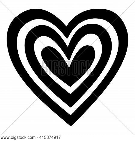 Love Psychedelic Heart Icon. Hand Drawn And Outline Illustration Of Love Psychedelic Heart Vector Ic