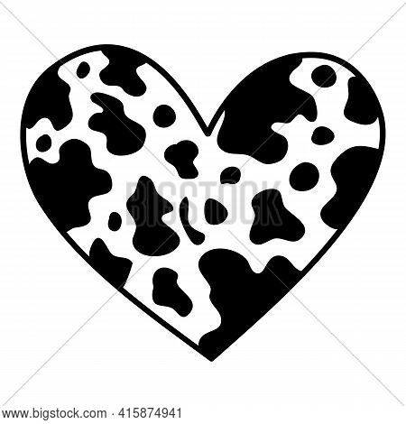 Camouflage Heart Icon. Hand Drawn And Outline Illustration Of Camouflage Heart Vector Icon For Web D