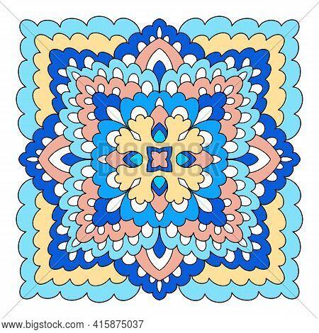 Strange Mandala Icon. Hand Drawn And Outline Illustration Of Strange Mandala Vector Icon For Web Des