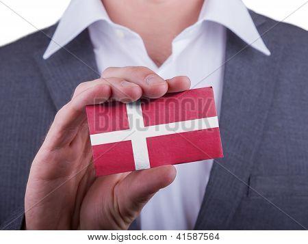 Businessman Showing Card, Matte Paper Effect
