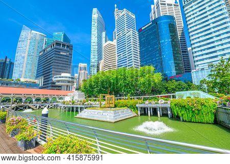 Singapore - April 28, 2018: Singapore Cityscape By The Central Business District Cbd Buildings In Cl