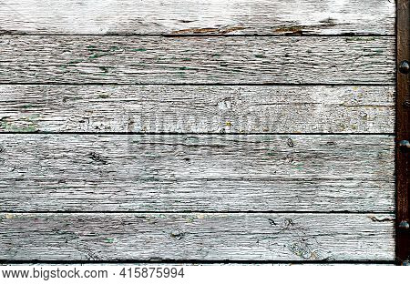 Old Weathered Wood Plank In The Form Of Plain Flaking Wood, Old Rough And Weathered Wood Surface