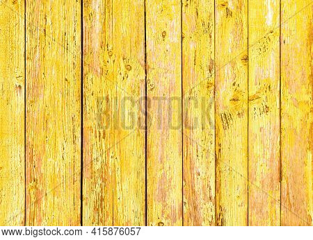 Weathered Wood Plank In The Form Of A Simple Peeling Yellow Paint, Old Rough And Weathered Wood Surf