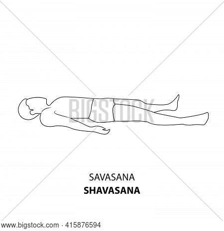 Man Practicing Yoga Pose Isolated Outline Illustration. Man Lying On The Ground In Shavasana Corpse
