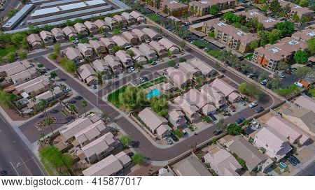Panoramic Overlooking View Of A Small American Town In Avondale City Near Of State Capital Phoenix A