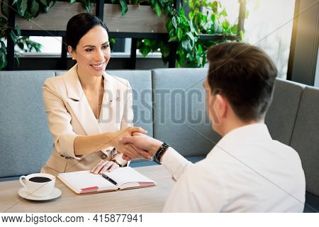 Business People At Work. Handshake, Business Meeting, Interview Concept