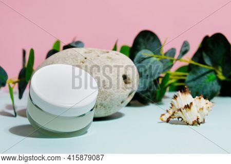 Blank Moisturizing Cream Jar. Summer Skin Care Concept. Organic Moisturizer. Cosmetics Container Moc