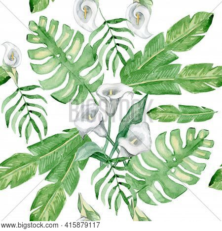 Exotic Leaves, Rainforest. Seamless, Hand Painted, Watercolor Pattern.  Background.