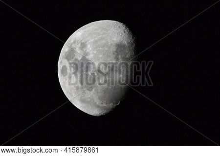 Closeup Of Bright Three-quarter Moon In Western Australia Showing Fine Detail Of Lunar Surface.