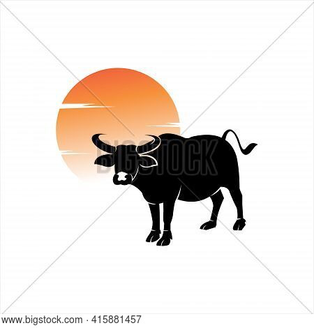 Buffalo Illustration Standing Animal Vector For Nature Or Fauna Graphic Design Element Ideas