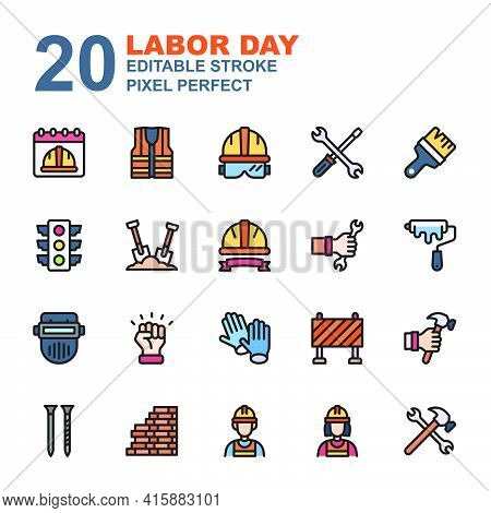 Icon Set Labor Day Made With Line Color Filled Technique, Contains A Labor Day, Helmet, Labor Man An