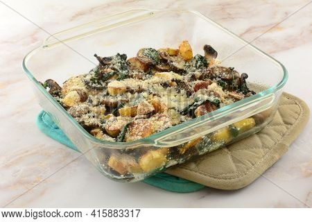 Baked Cheese Casserole Of Potatoes, Spinach, And Mushrooms In Glass Baking Dish On Two Pot Holders