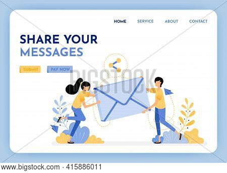Sharing And Sending Email. Woman And Man Holding 3d Envelope To Communication And Discussion. Send M