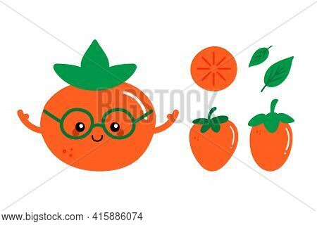 Set, Collection Of Cute And Smiling Cartoon Style Orange Persimmon Character And Persimmon Fruits An