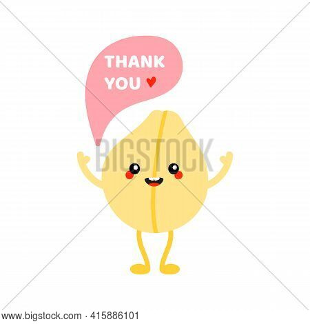 Cute Cartoon Style Smiling Chickpea, Chick Pea Seed Character Saying Thank You, Showing Appreciation